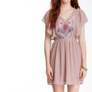 Flying Tomato Ruffle Sleeve Embroidered Dress